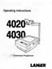 Lanier Model 4020, 4030 Overhead Projector Owners Manual