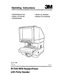 3M M-7540 MFB Microfilm Reader / Printer Owners Manual