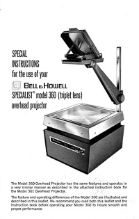 Bell & Howell Specialist Model 360 Overhead Projector Special Instruction Manual