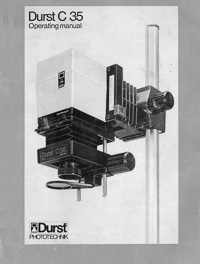 Durst C35 Photo Enlarger Operating Manual
