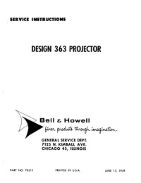 Bell & Howell 363 8mm Movie Projector Service and Parts Manual