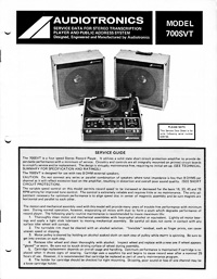 Audiotronics Record Player 700SVT Service Guide