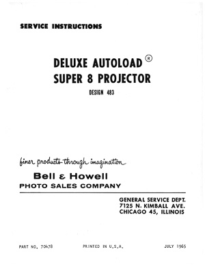 Bell & Howell 483 Deluxe Autoload Super 8 Movie Projector Service and Parts  Manual